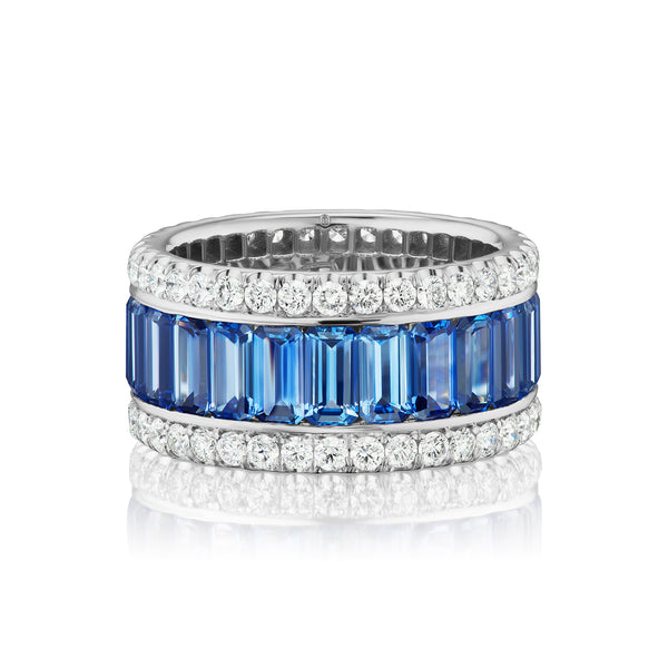 Halo Sapphire & Diamond Eternity Band