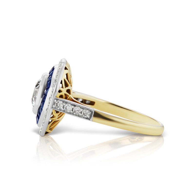 Old Mine Diamond & Sapphire Ring
