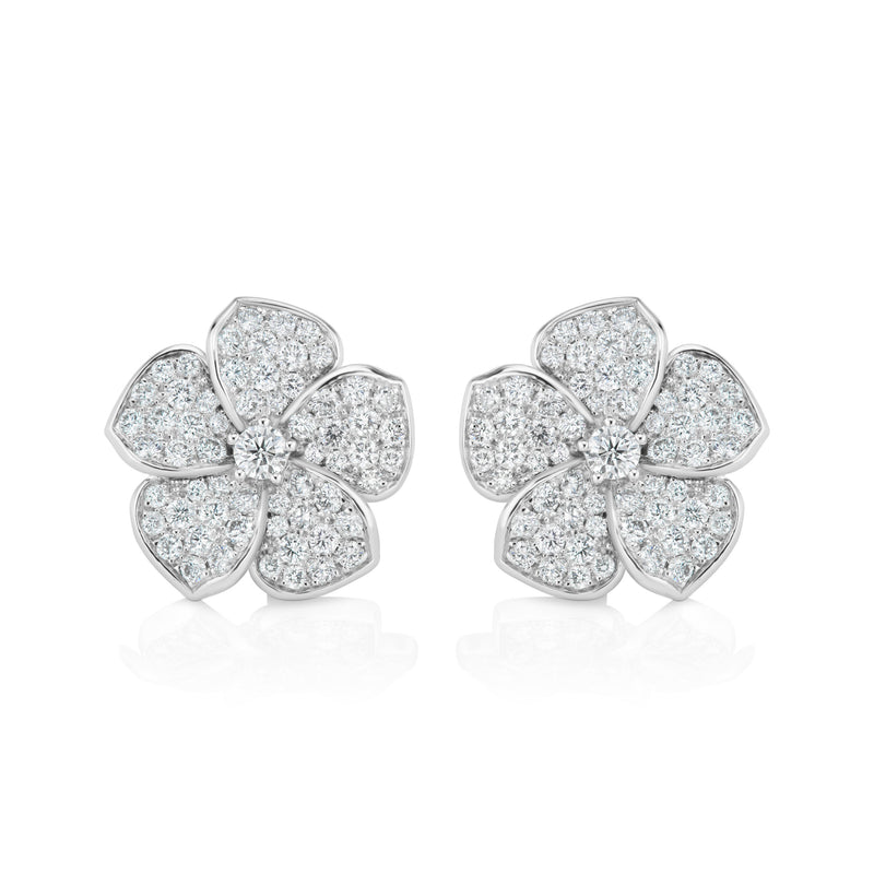 Plumeria Diamond Earrings, large