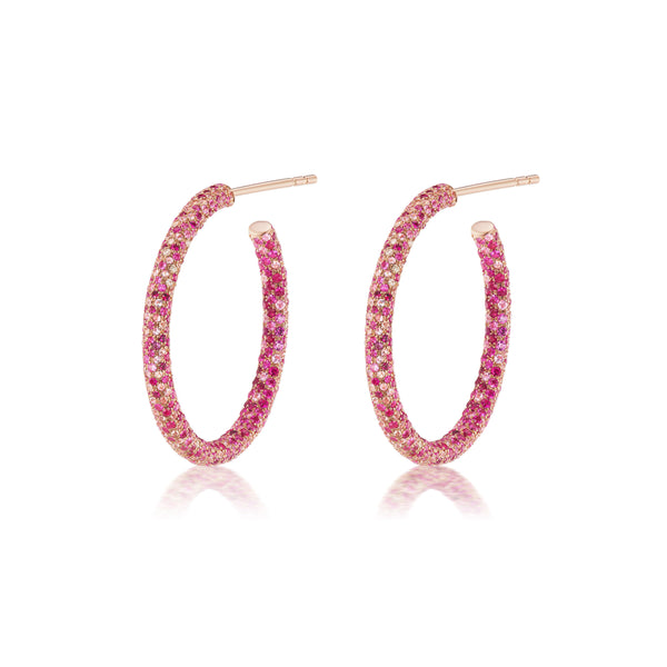 Ruby, Pink Sapphire & Diamond Scatter Hoops