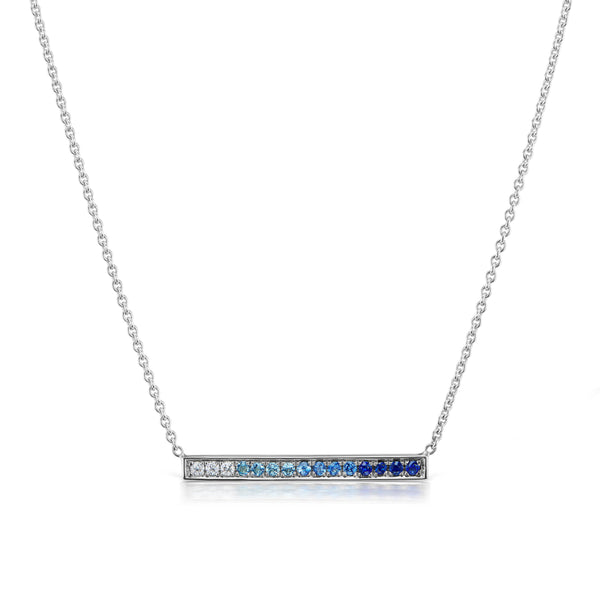 Long Bar Ombré Blue Sapphire Necklace