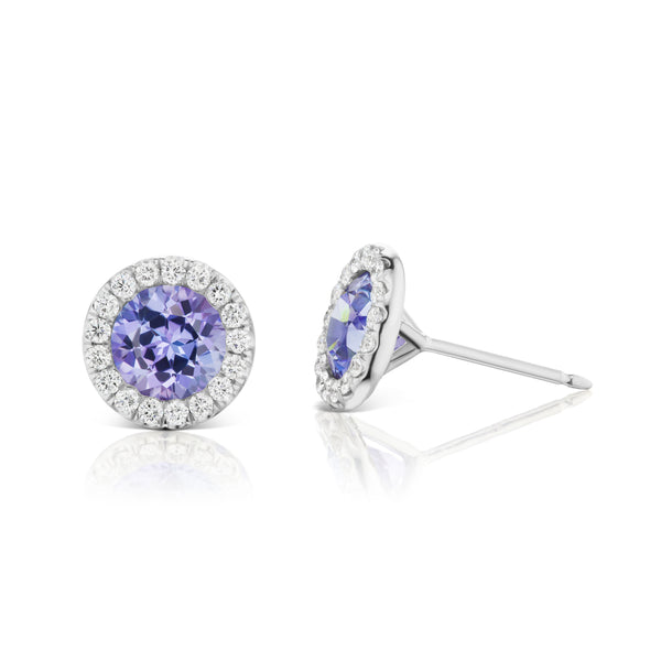Halo Tanzanite & Diamond Earrings