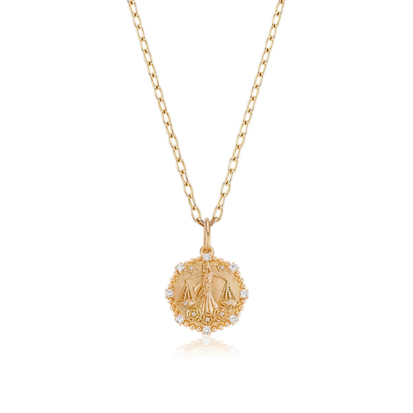 Medium Libra Diamond Zodiac Medallion