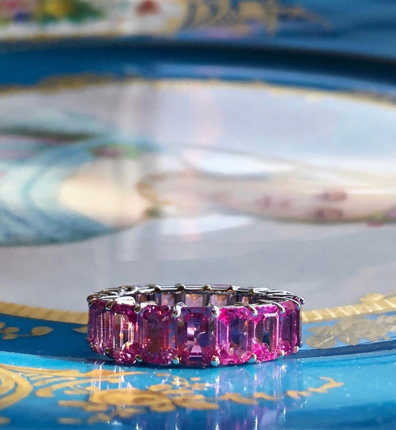 Halo Pink Sapphire Eternity Band