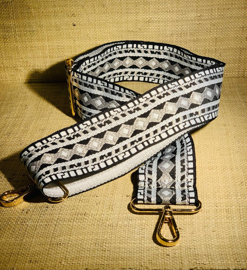 Pattern Black & Grey Bag Strap