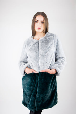 BETH CONTRASTING FAUX FUR COAT IN GREY GREEN