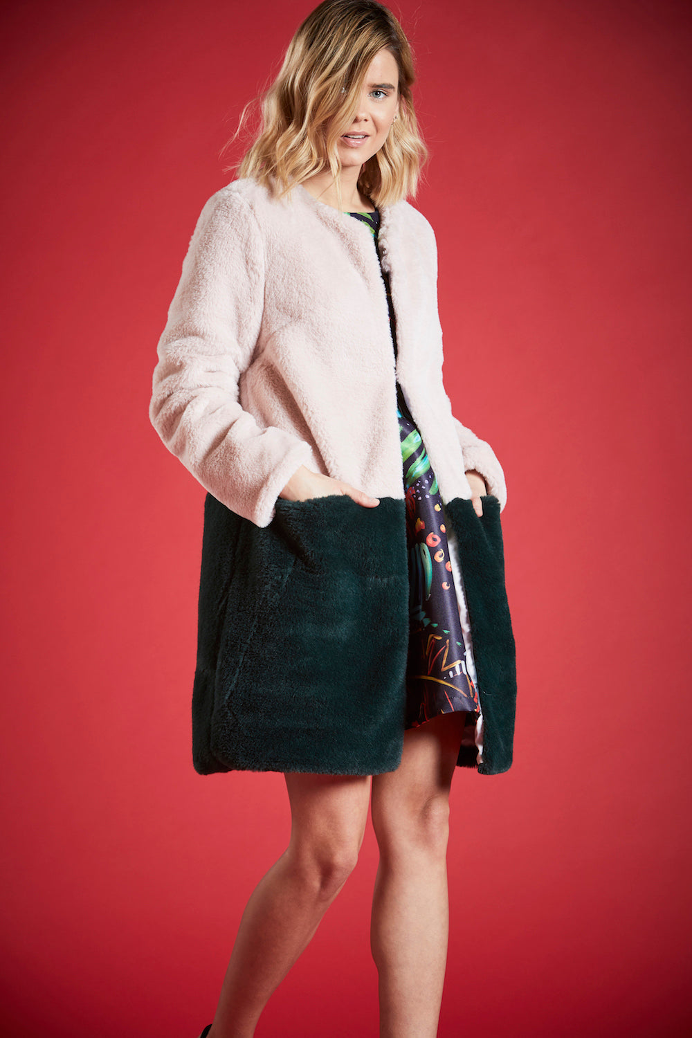 BETH CONTRASTING FAUX FUR COAT IN PINK AND GREEN