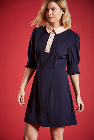 TRACY <BR> SHIRT SHIFT DRESS IN NAVY