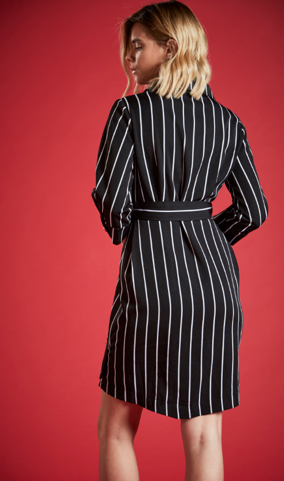 CHARLOTTE PIN STRIPED DRESS IN BLACK
