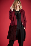 ABIGAIL OMBRE DESIGN BUTTON UP COAT IN BURGUNDY