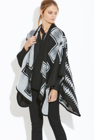 AngelEye Black Grey Blanket Scarf