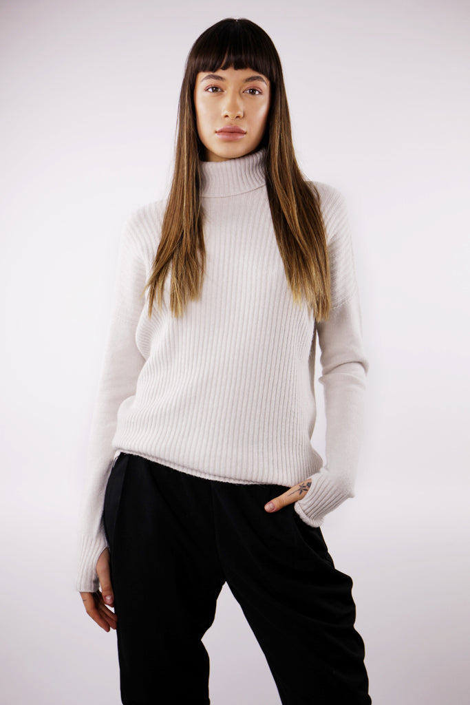 Women's Chunky Roll Neck Jumper in Cream