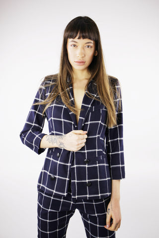 CHEQUERED PRINT BLAZER IN NAVY