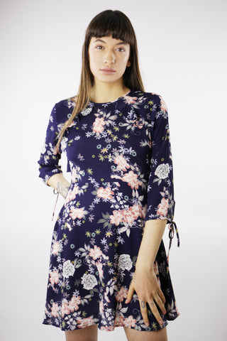 FLORAL PRINT SKATER DRESS IN NAVY