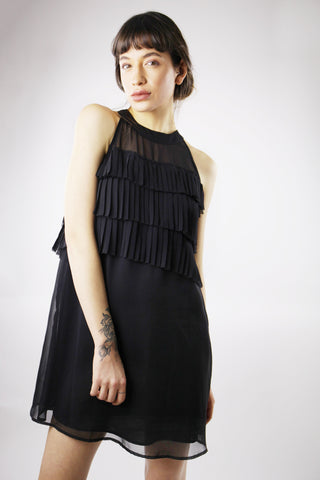 RUFFLE CHIFFON BLACK DRESS