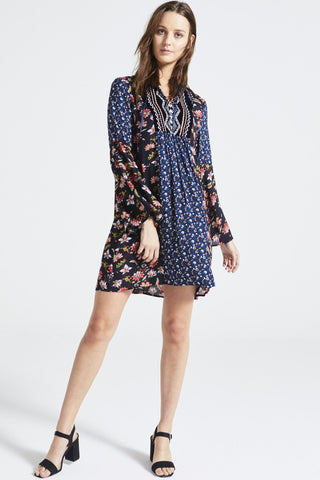 PATCHWORK 'MYRA' BELL SLEEVE DRESS