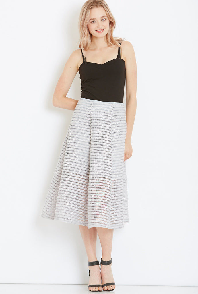 Textured A-Line Skirt in Light Grey