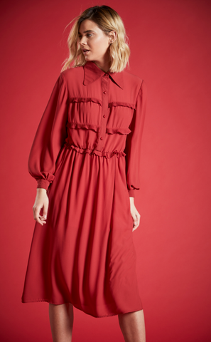 ANNE MIDI SHIRT DRESS IN BURNT ORANGE