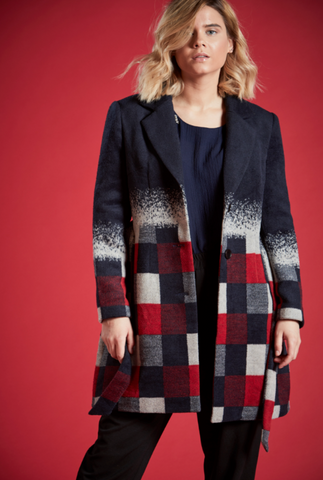 MALI OMBRE DESIGN TIE AROUND COAT IN NAVY