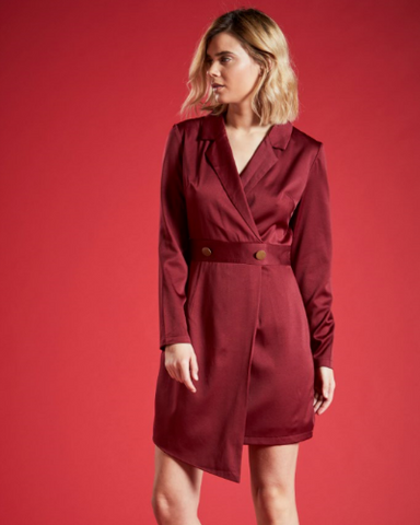 CROWN LONG SLEEVED WRAP DRESS IN BURGUNDY