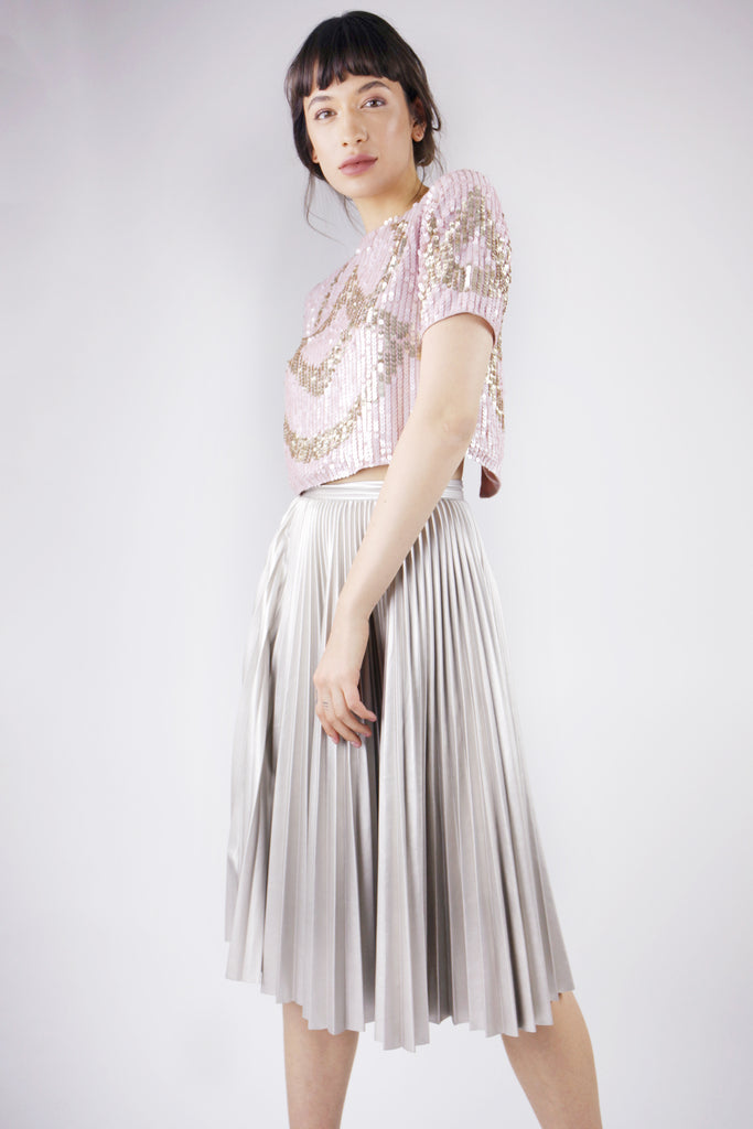 CHAMPAGNE FAUX LEATHER MIDI PLEATED SKIRT