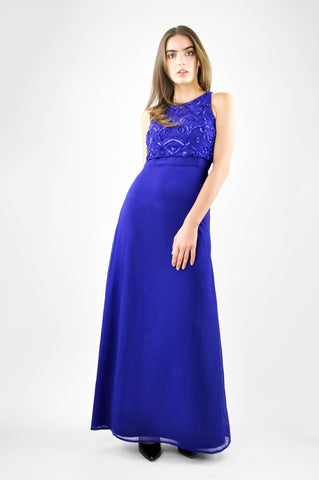 EMBELLISHED CROP TOP MAXI DRESS IN BLUE