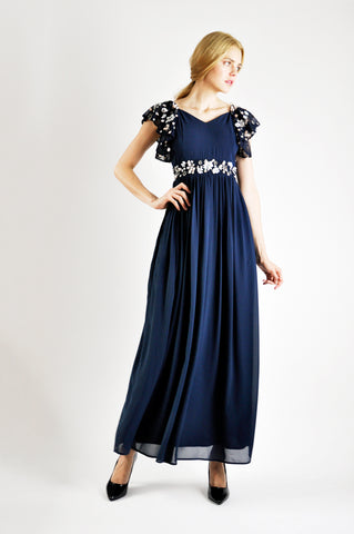 EMBELLISHED MAXI DRESS IN NAVY