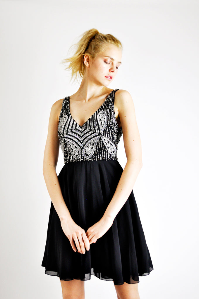 EMBELLISHED SKATER DRESS IN BLACK