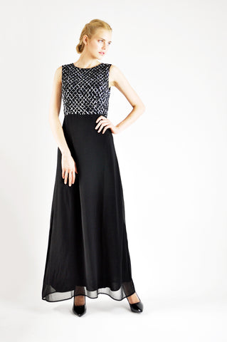 EMBELLISHED CROP TOP MAXI DRESS IN BLACK