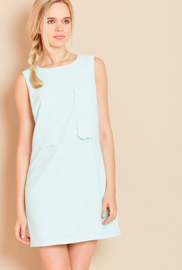 MACAROON<BR> Layered Scallop Shift Dress in Mint