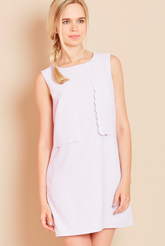 MACAROON<BR> Layered Scallop Shift Dress in Violet