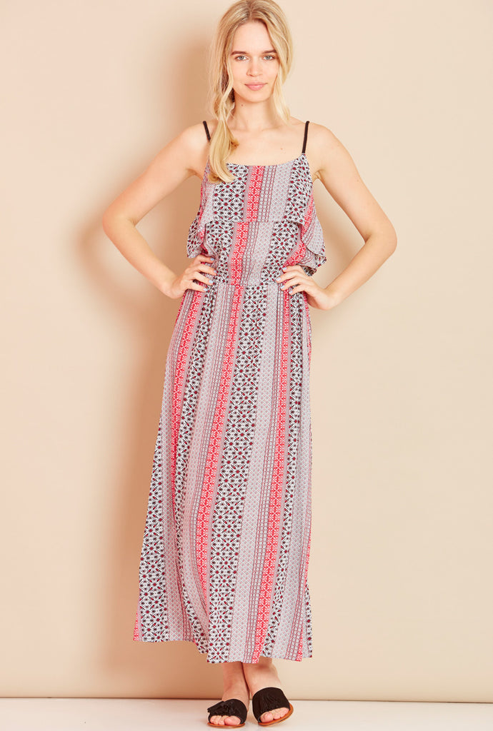 MARINA<BR> Rope Strap Maxi Dress in Red