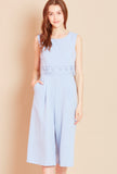 MOSAIC Laser Cut Culotte Jumpsuit in Blue