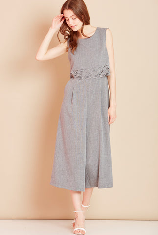 MOSAIC Laser Cut Culotte Jumpsuit in Grey