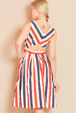 NANCY<BR> Multicoloured Striped Dress