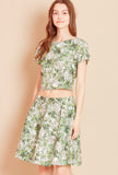 PALM COURT Leaf Print Skirt in Green