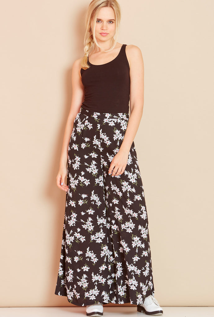 PARADISE<BR> Floral Palazzo Pants in Black