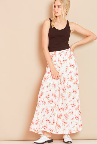 PARADISE<BR> Floral Palazzo Pants in Cream