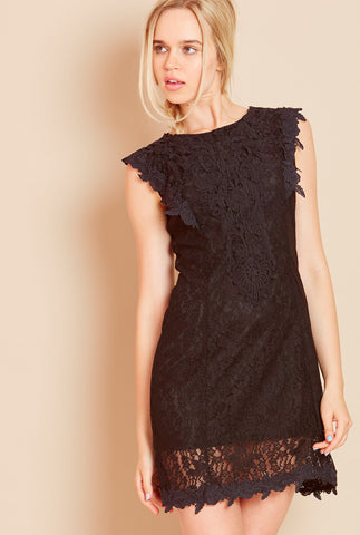 PRINCESS Crochet Lace Dress in Black