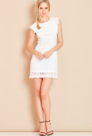PRINCESS<BR> Crochet Lace Dress in White