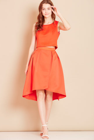 QUEENIE<BR> Hi-Low Skirt in Orange