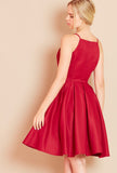 ROYAL<BR> High Neck Dress with Full Skirt in Burgundy
