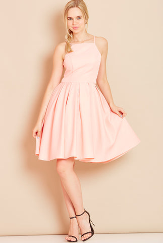 ROYAL High Neck Dress with Full Skirt in Pink
