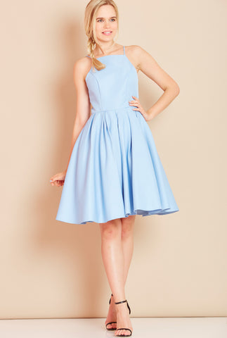 ROYAL High Neck Dress with Full Skirt in Sky Blue