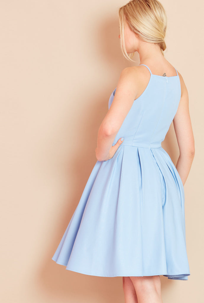 ROYAL<BR> High Neck Dress with Full Skirt in Sky Blue