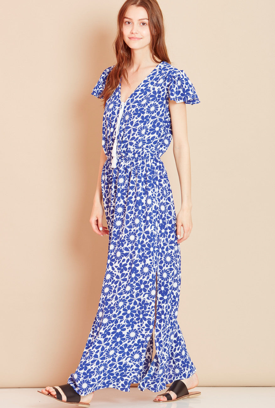 SEA SHELL<BR> Wrap Front Floral Maxi Dress in Blue