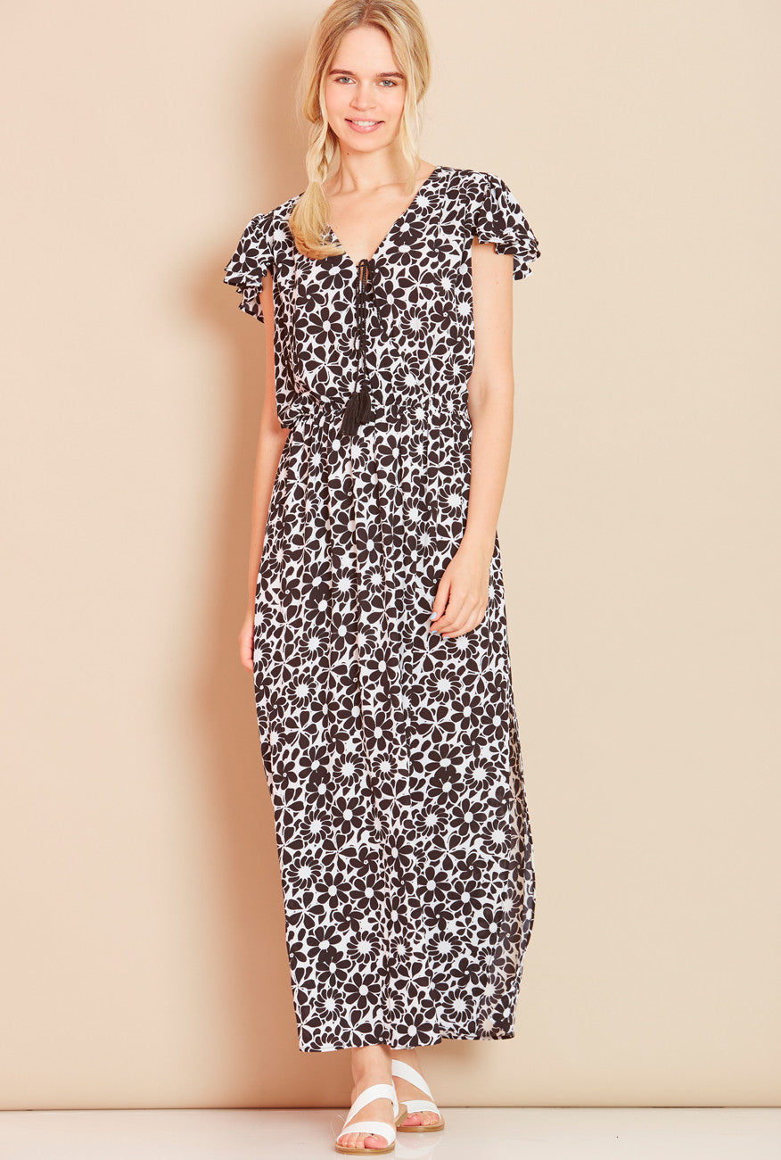SEA SHELL<BR> Wrap Front Floral Maxi Dress in Black