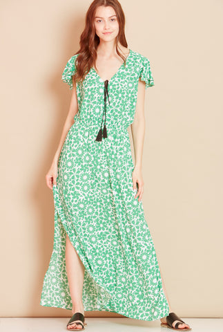SEA SHELL<BR> Wrap Front Floral Maxi Dress in Green