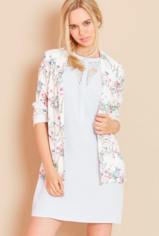 SECRET GARDEN<BR> Floral Kimono Blazer in Cream