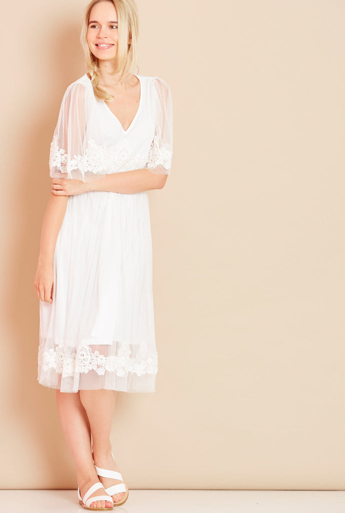SERENITY<BR> Floaty Netted Midi Dress
